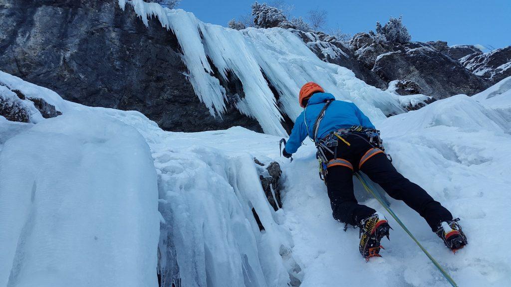 Man climbing ice