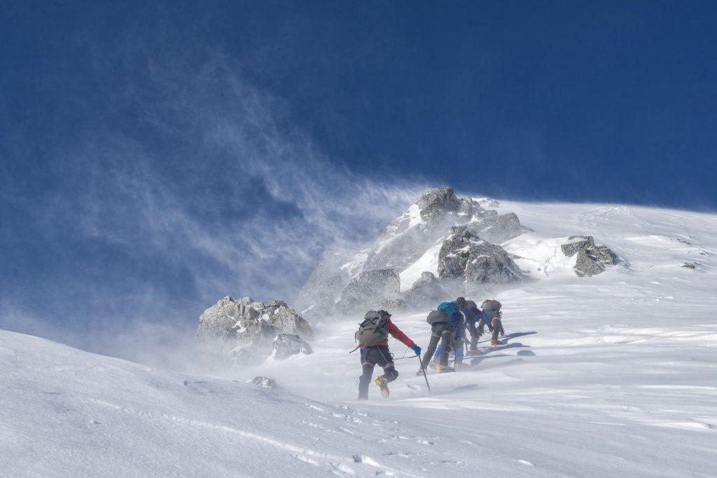 Climbing in snow